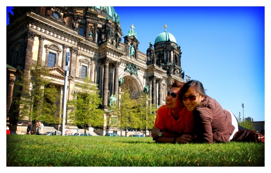 Lounging in front of Berliner Dom